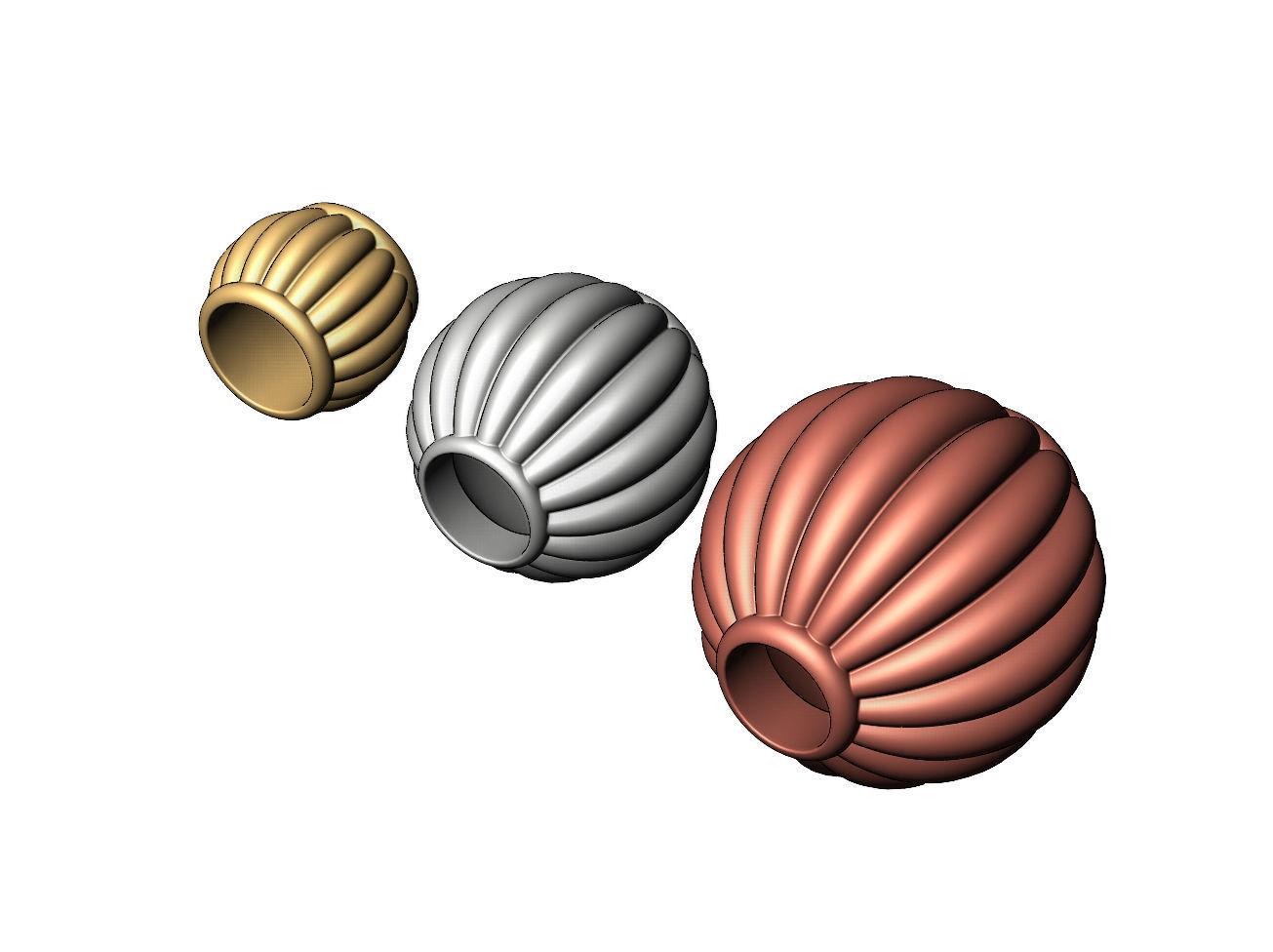 Corrugated Lantern Bead Balls and Charms
