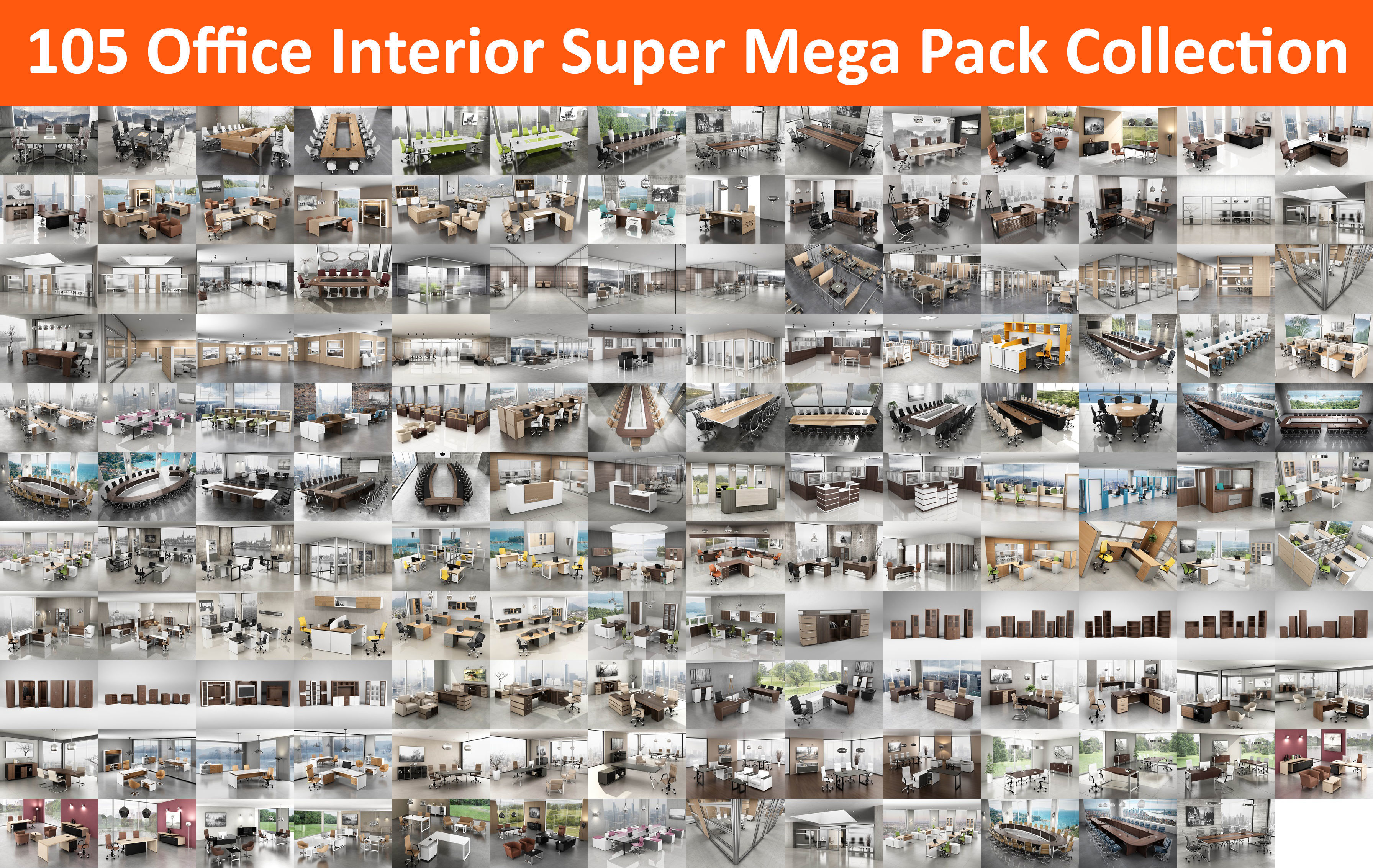 105 Office Interior Super Mega Pack Collection