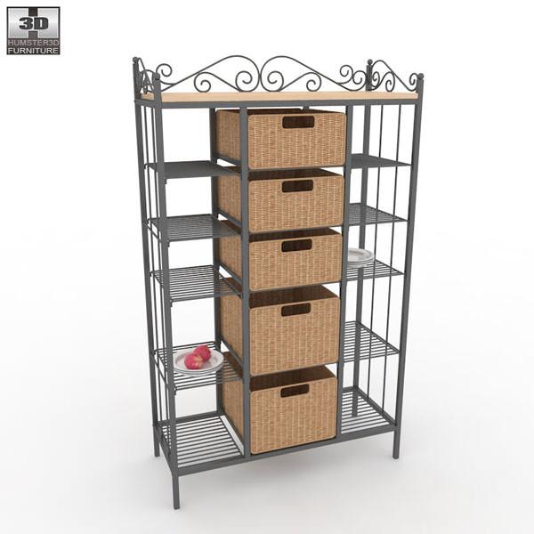 Manilla Kitchen Storage Rack Model Low Poly Max Obj S Fbx Mtl 2