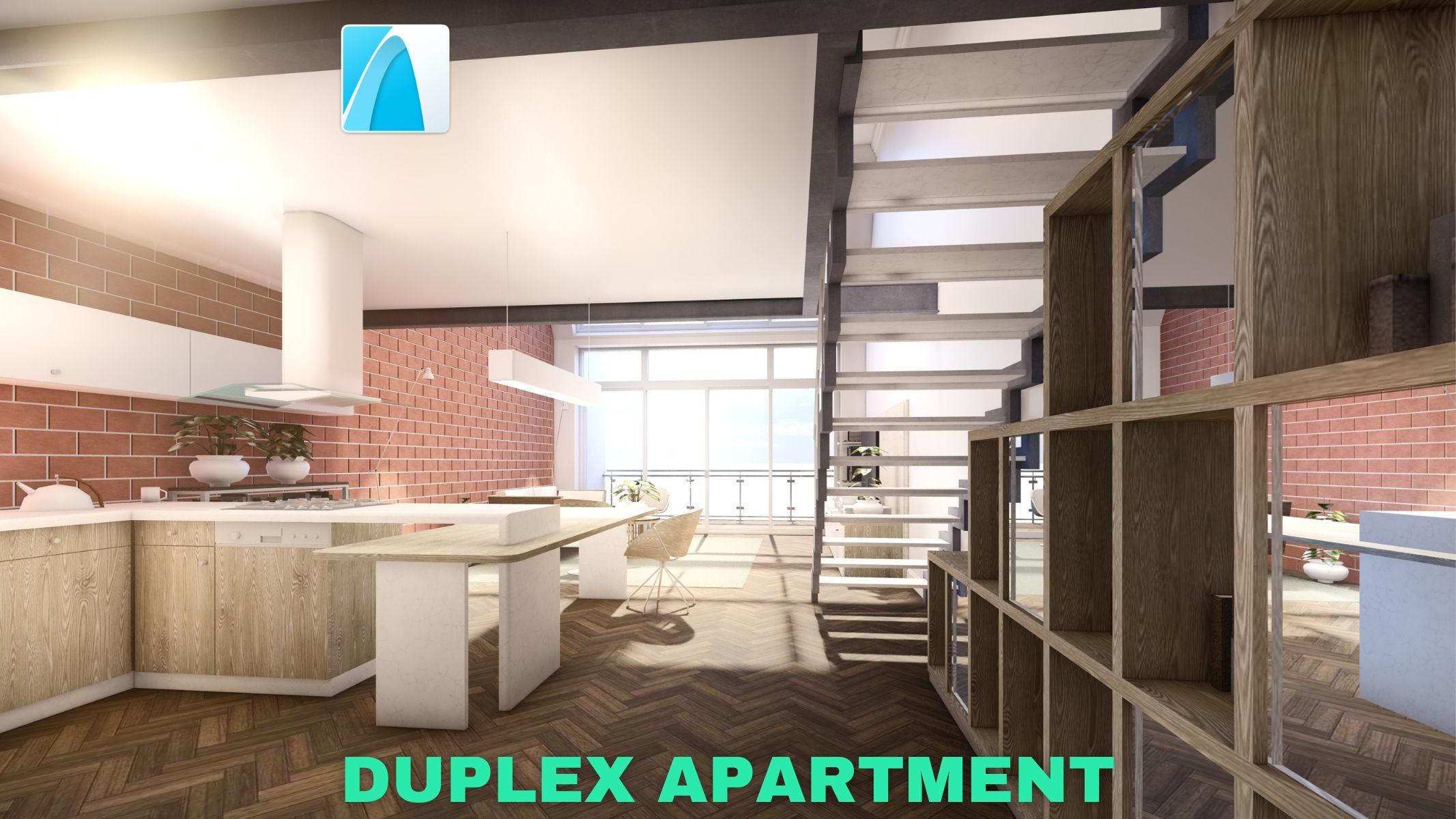 Modern Duplex Apartment Scene - Archicad