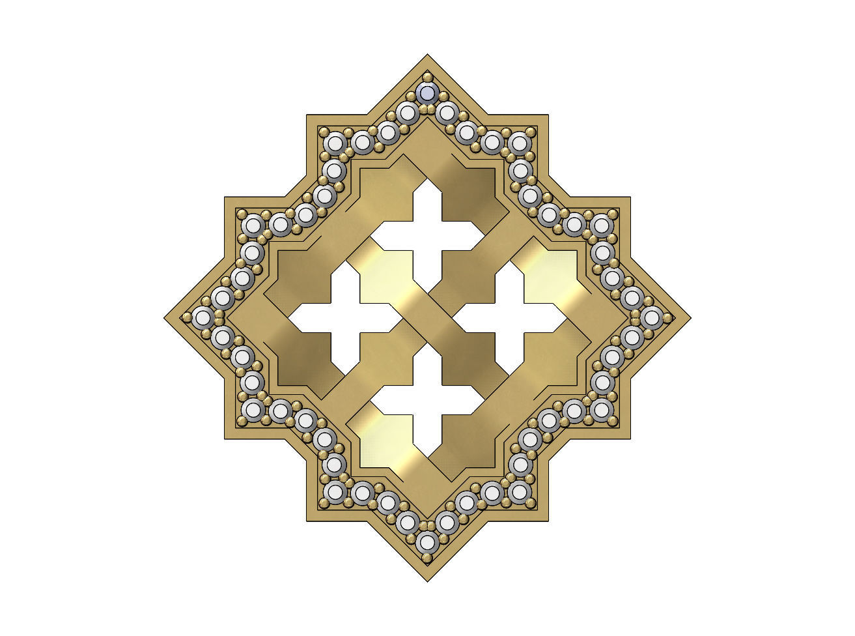 Square Moucharabieh pendant  with a diamond halo