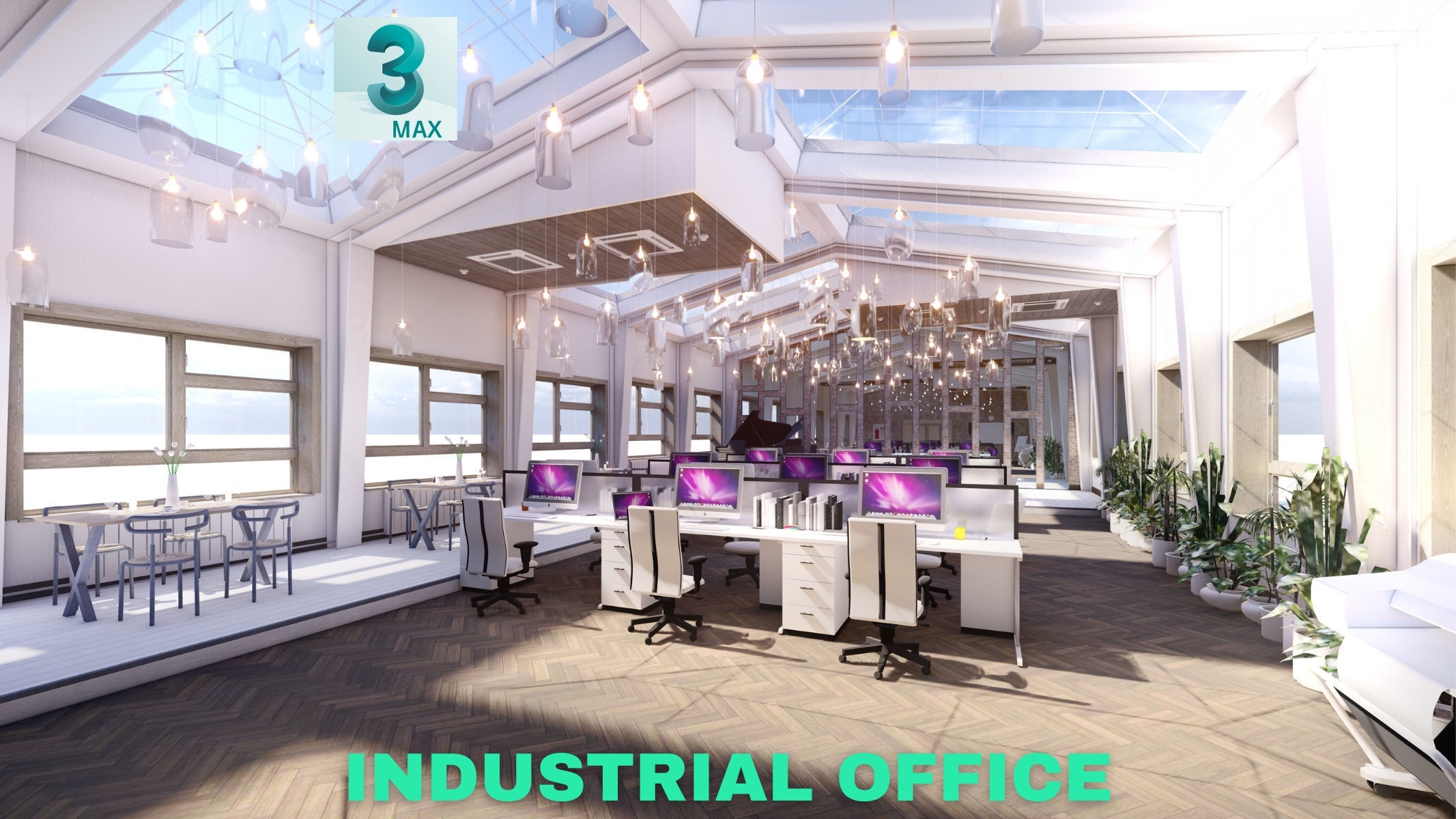 Industrial Office on Attic with Skylights Scene - 3DS MAX