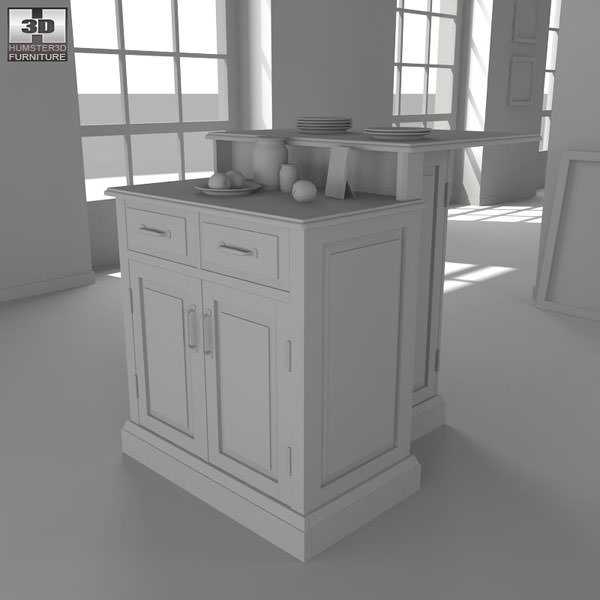 Two Tier Kitchen Island 3d Model Woodbridge Two Tier Kitchen Island In