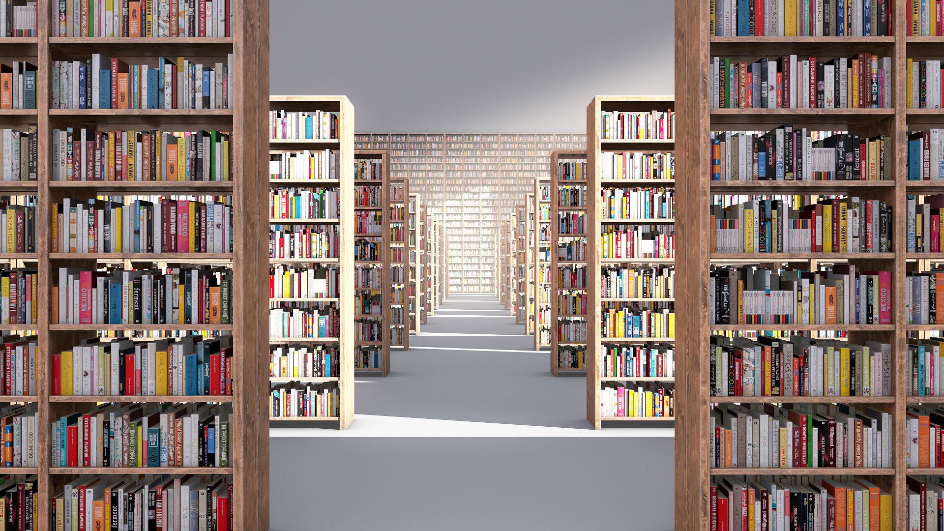Library books shelves
