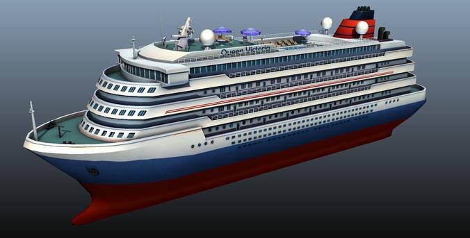 cruise liner - low poly 3d model low-poly max obj mtl fbx ma mb tga 1