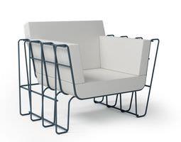 3D model White modern armchair 059 am92