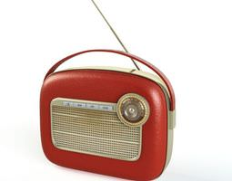 3d model red vintage radio 15 am114