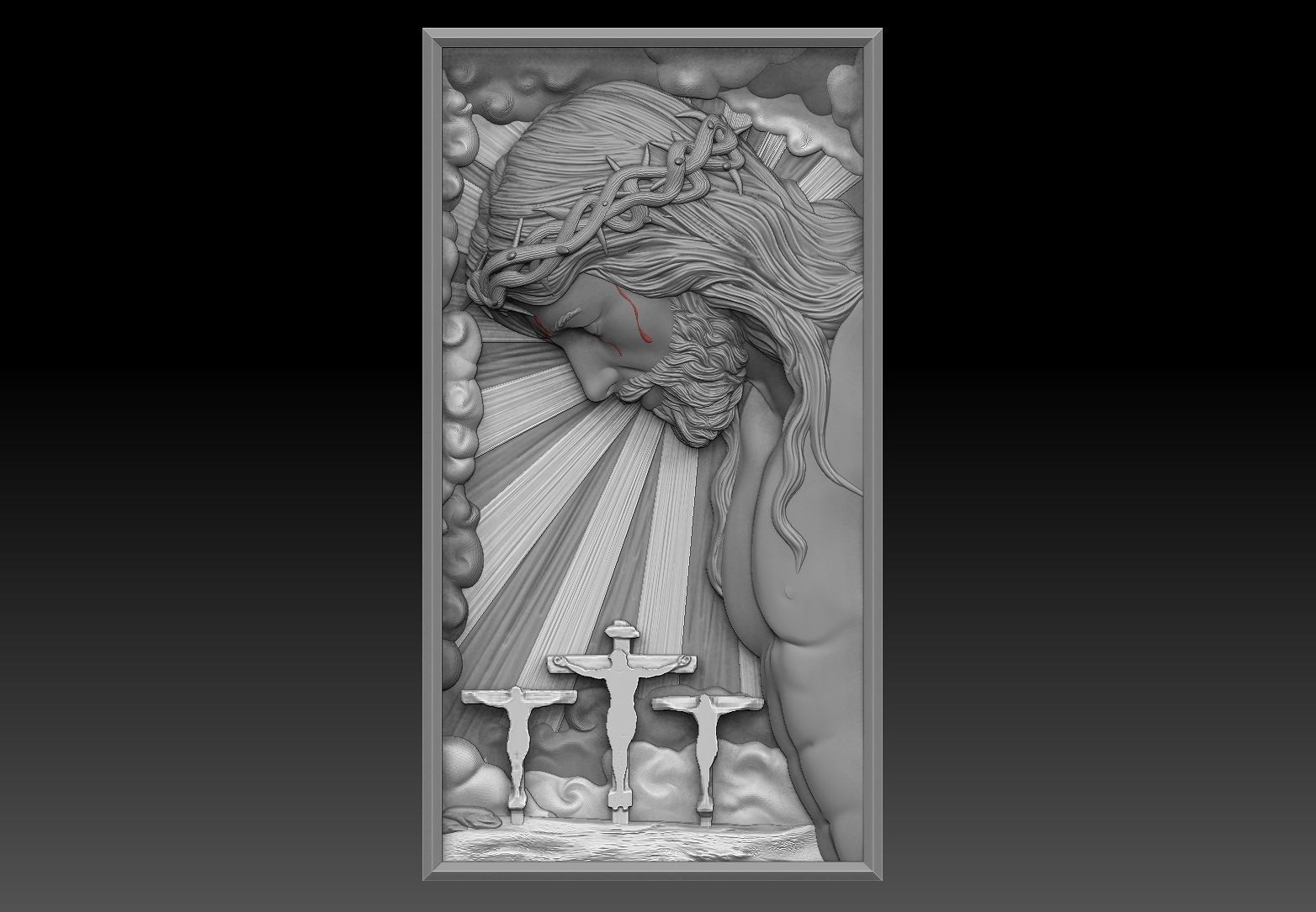 Crucified Jesus Pendant Bas-Relief 3D print model