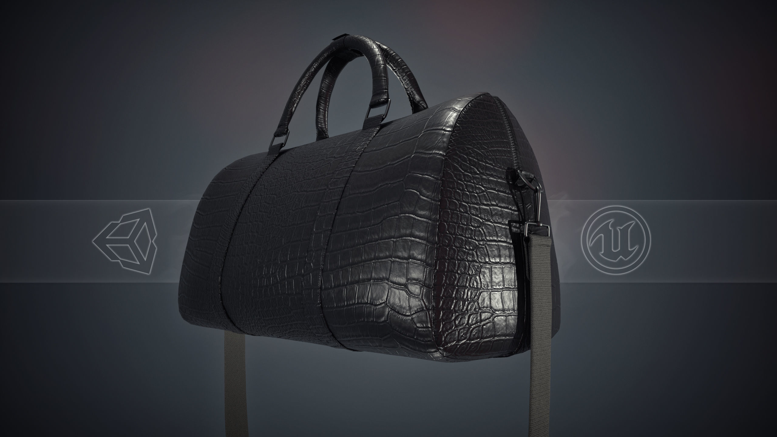 Black Leather Bag With Strip