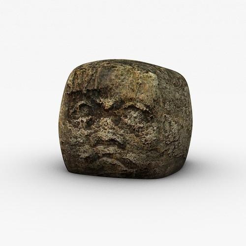 Ancient stone head3D model