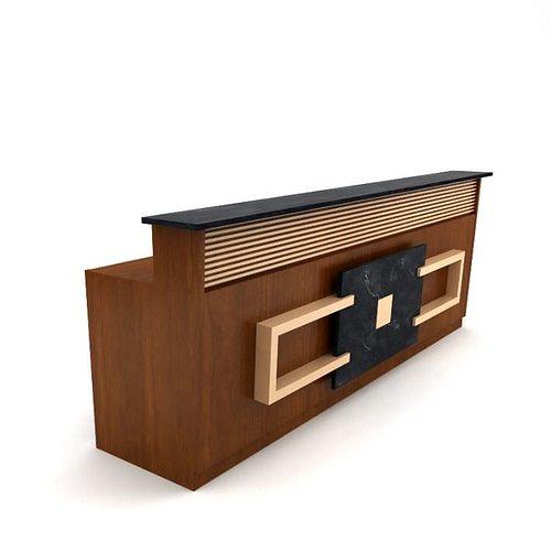 Brown wooden table reception desk 05 am89 3d model max obj for 3d table design