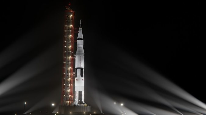 Saturn V Launch Vehicle with Apollo Spacecraft and Launch Tower