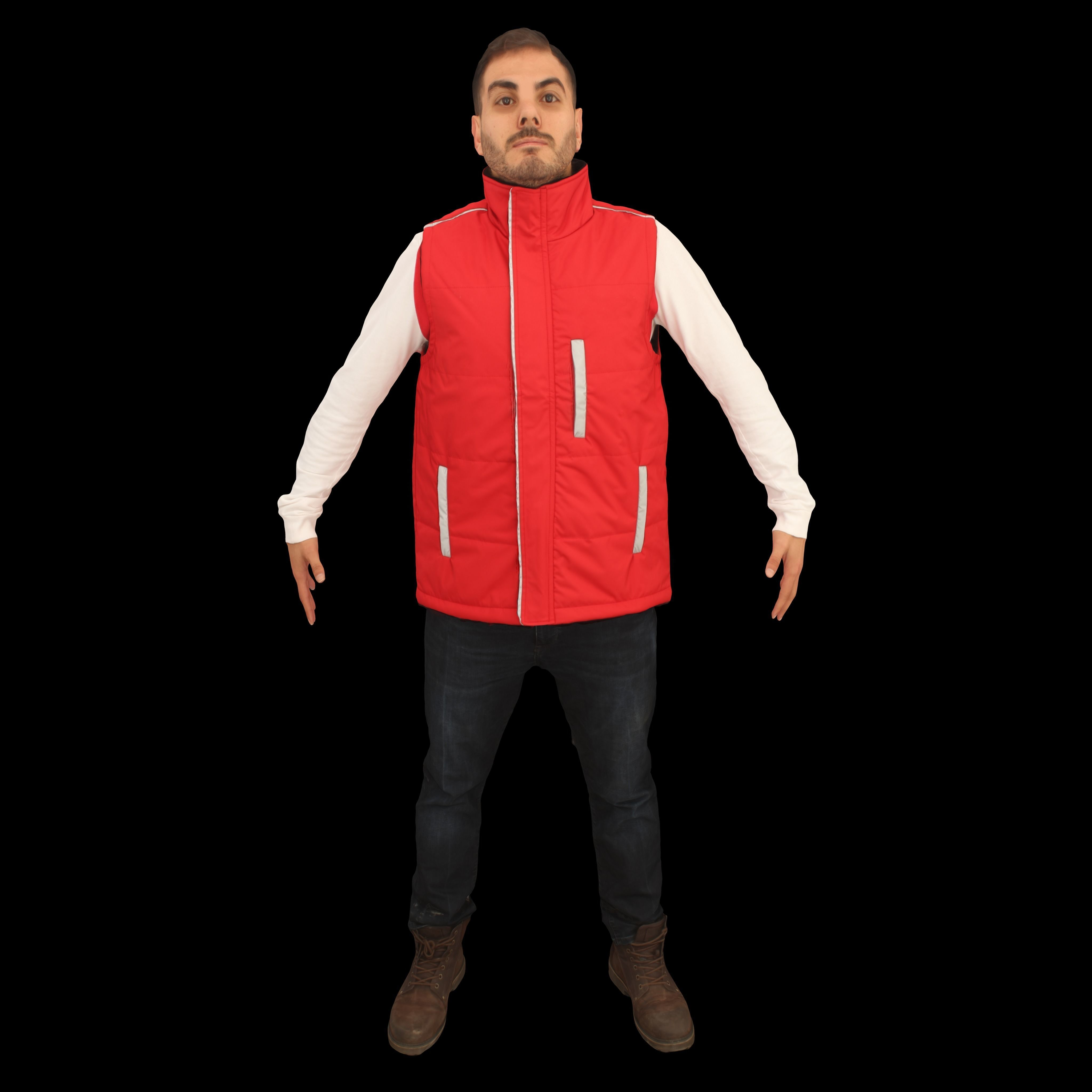 No447 - Male Red Vest A Pose