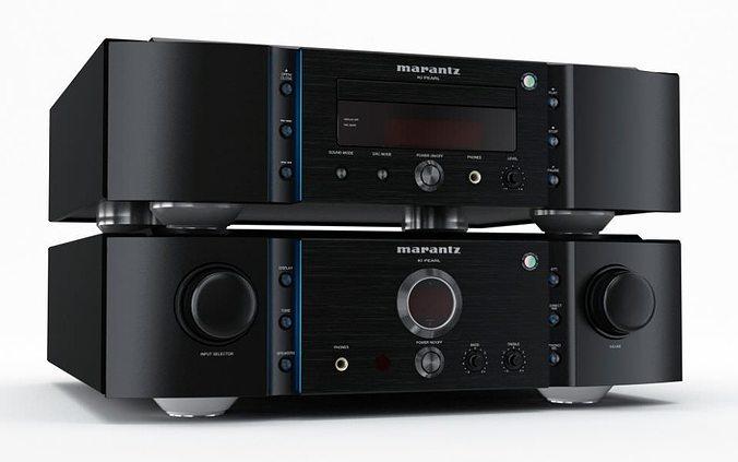 black audio stereo amplifier 34 am77 3d model obj 1
