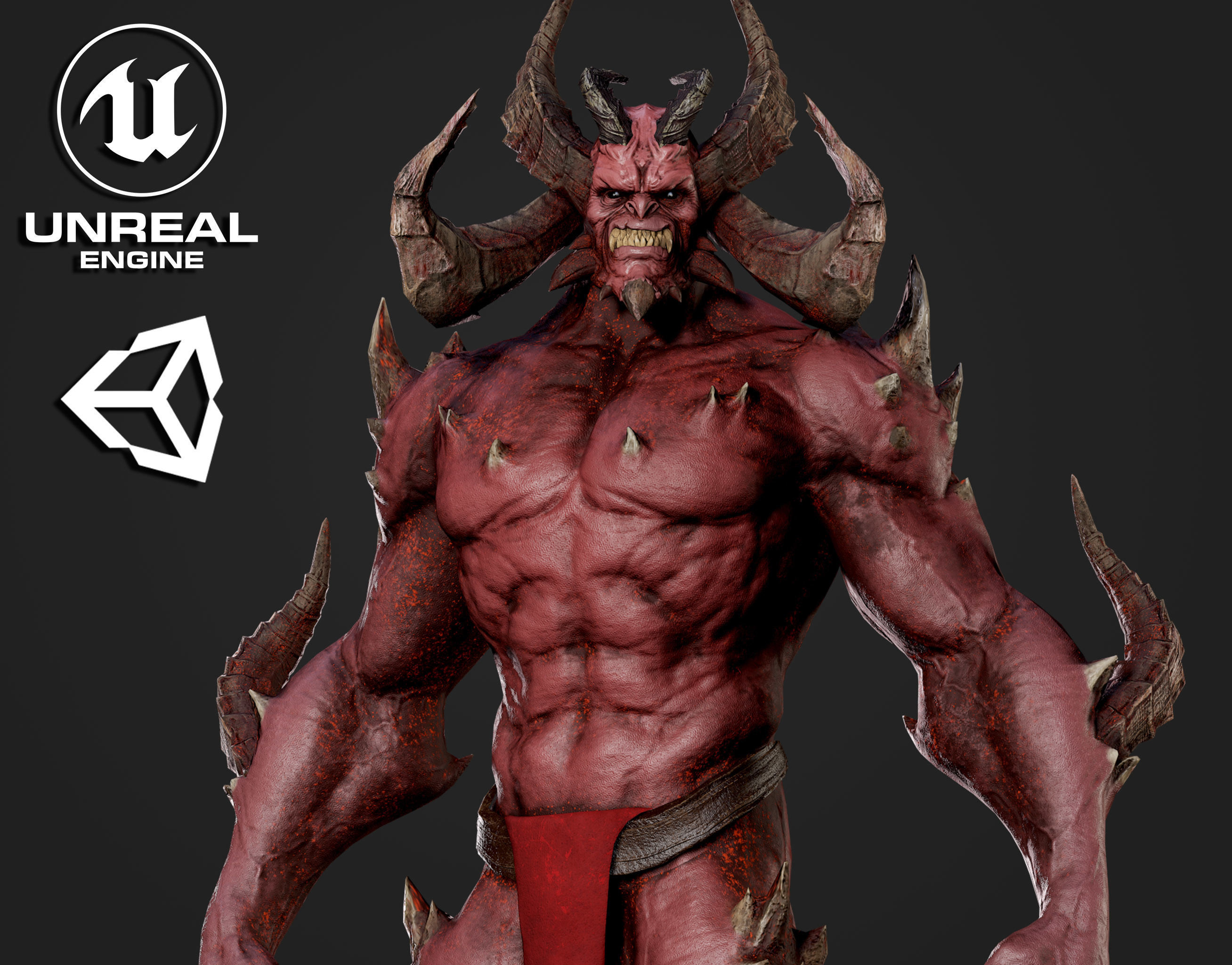 Horned Demon - Game Ready