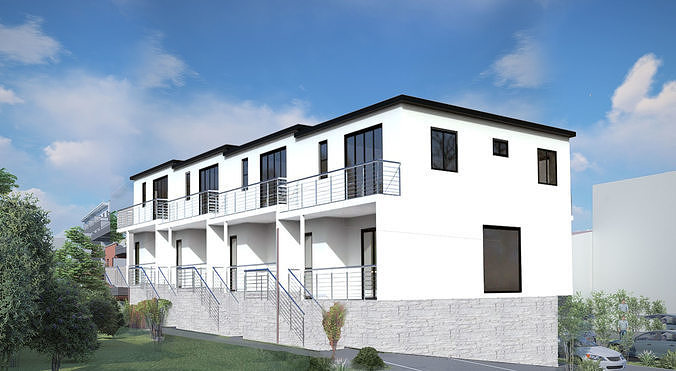 Modern townhouse with drawnings