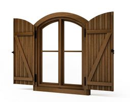 Brown wooden window shutters 78 am95 3D model