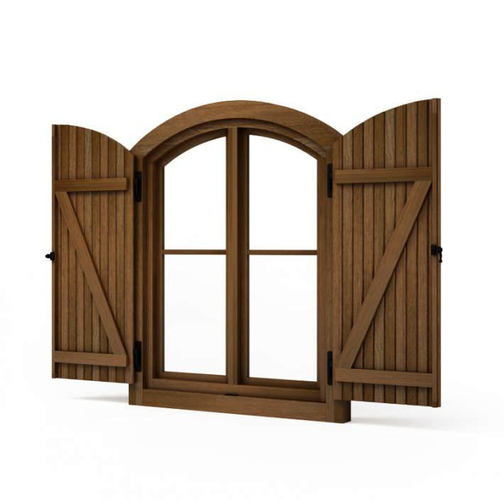 Brown wooden window shutters 78 am95 3d model obj for Window 3d model