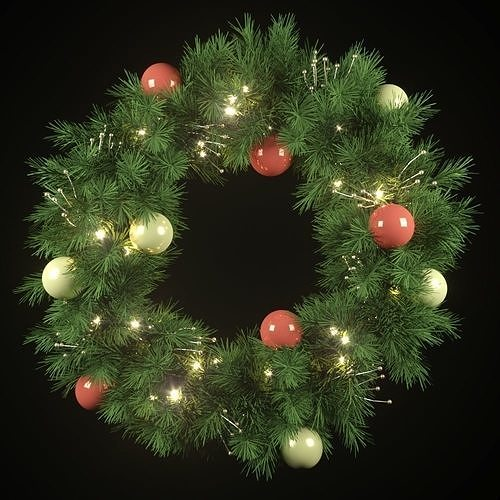 Christmas wreath with lights and ornaments