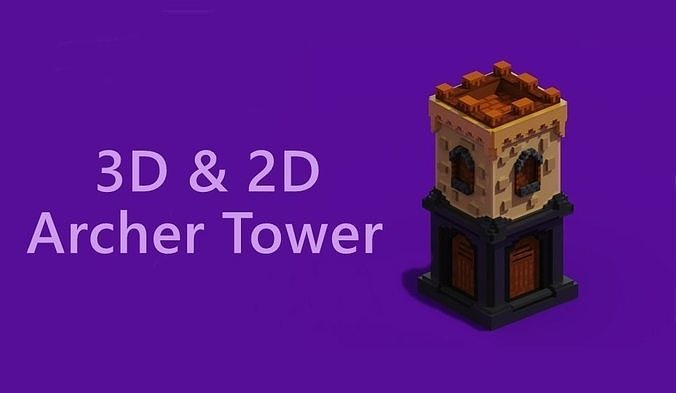 Voxel Archer Tower 3D And Isometric Sprite