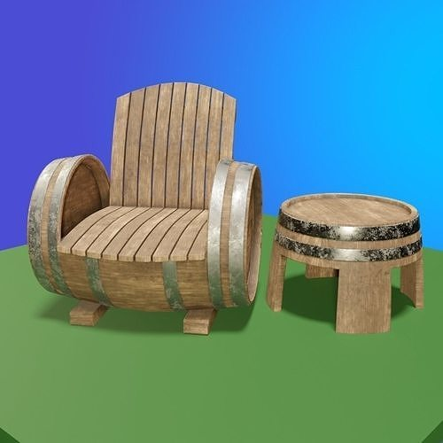 Barrel Chair and Table