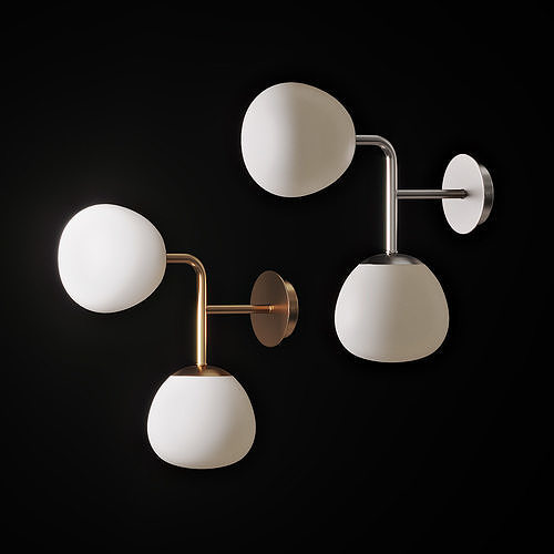 Sconce with two spherical glass shades