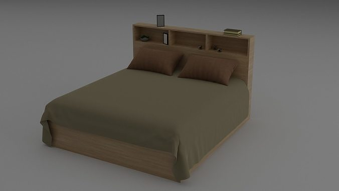 Comfortable double bed with shelves