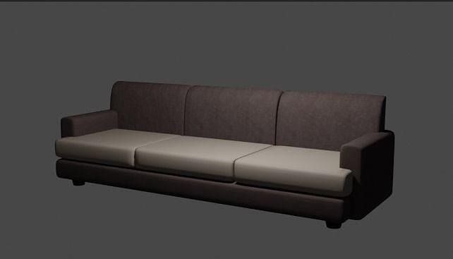 Simple Brown Sofa 3D