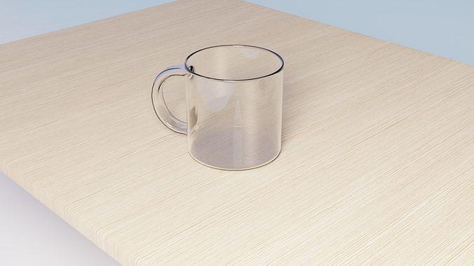 3D Transparent  Mug and Table