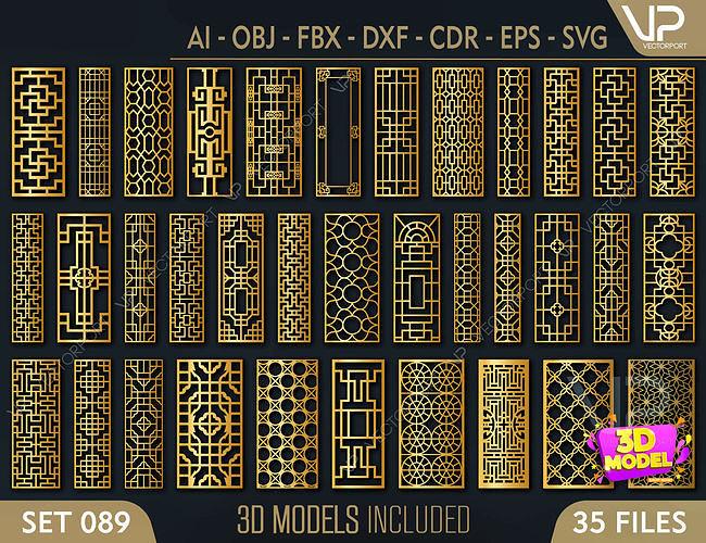 35 3D Decorative wall panels - screen SET 089