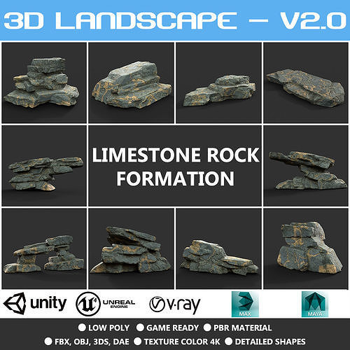 Low poly Big Rock Formation Pack 200928 - Limestone
