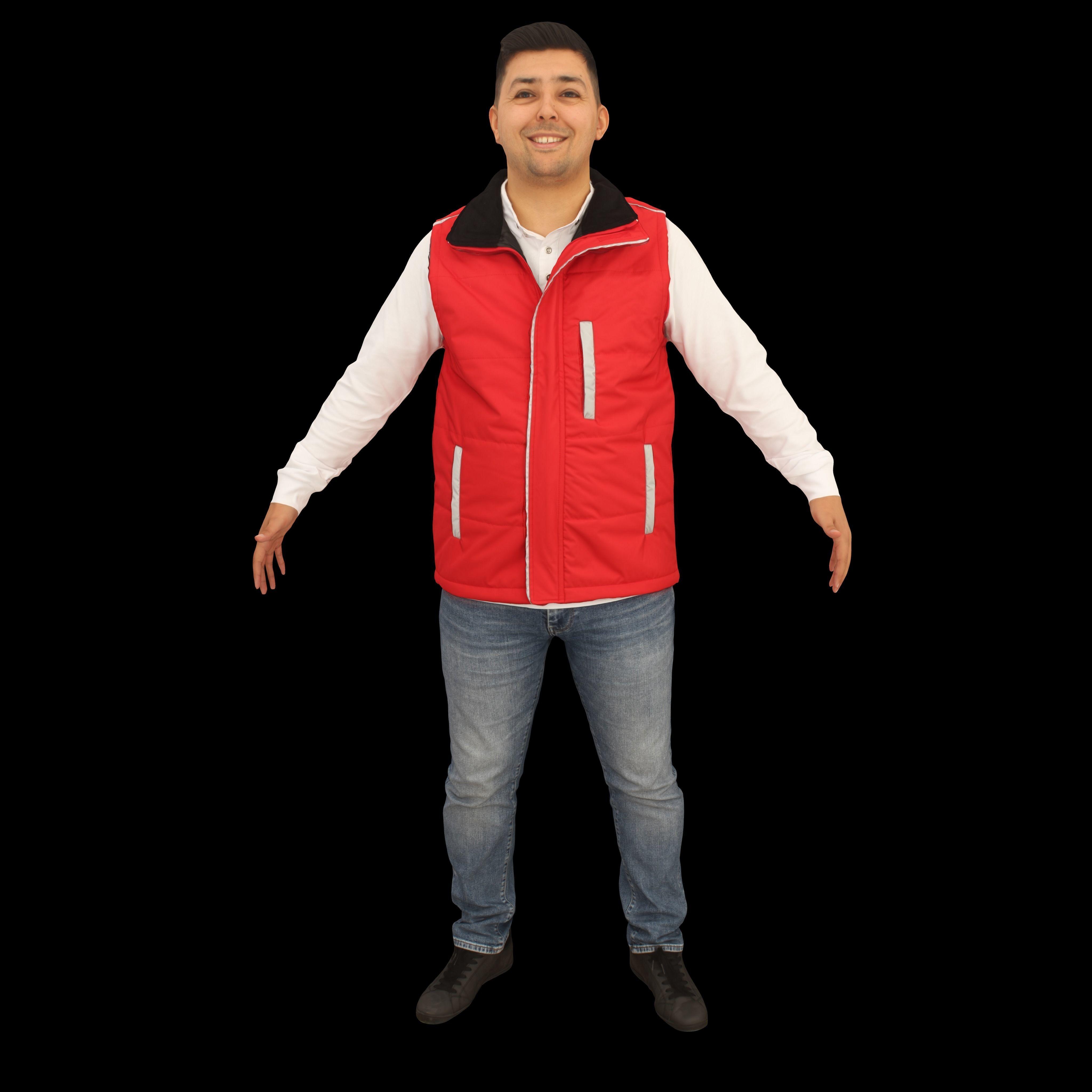 No449 - Red Vest Male A Pose