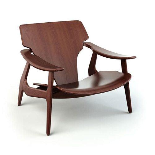 Merveilleux Brown Wooden Armchair 38 Am125 3D Model