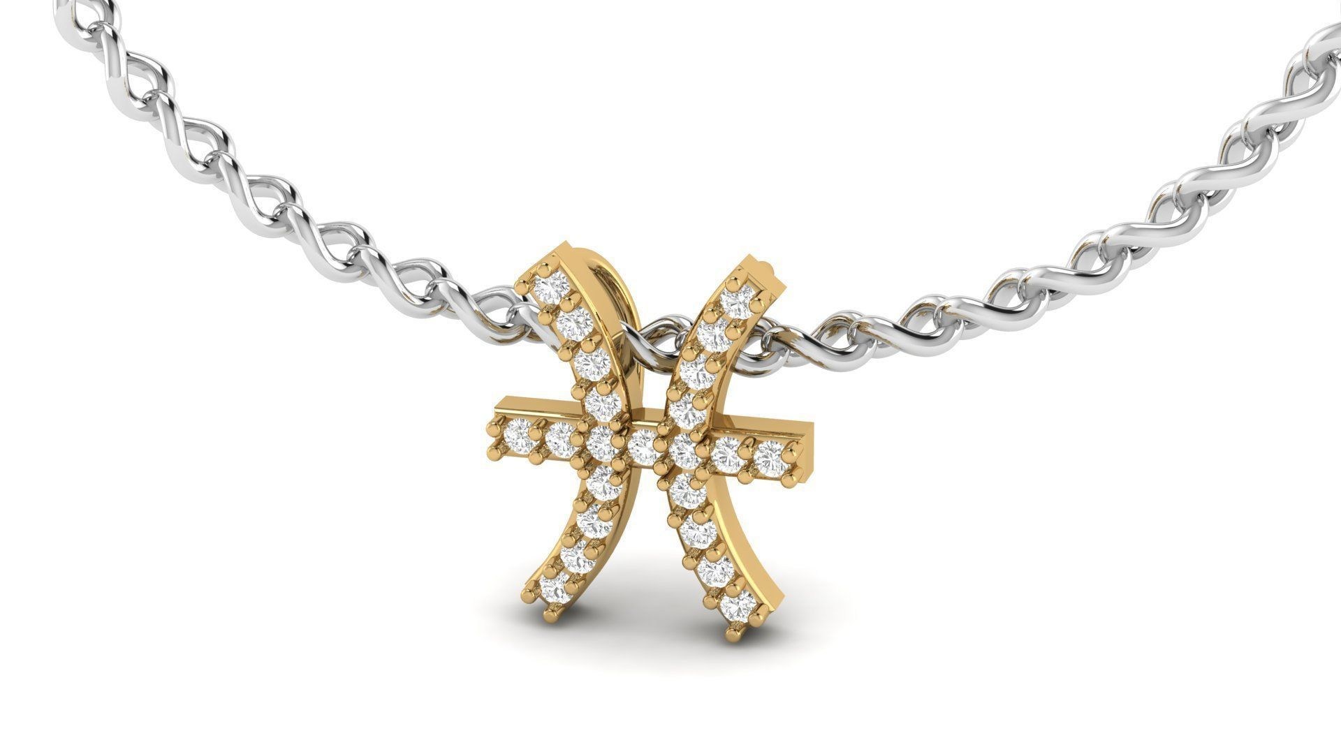 Pisces Zodiac Diamond  Necklase