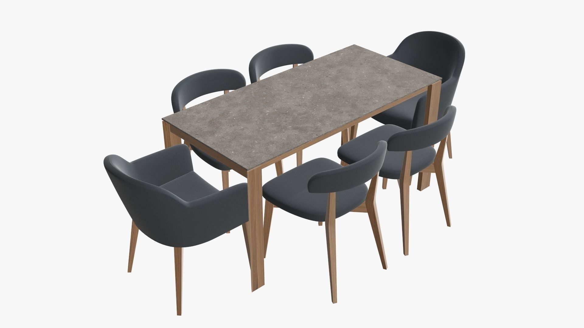3d Model Dining Table With Chairs And Armchairs Cgtrader