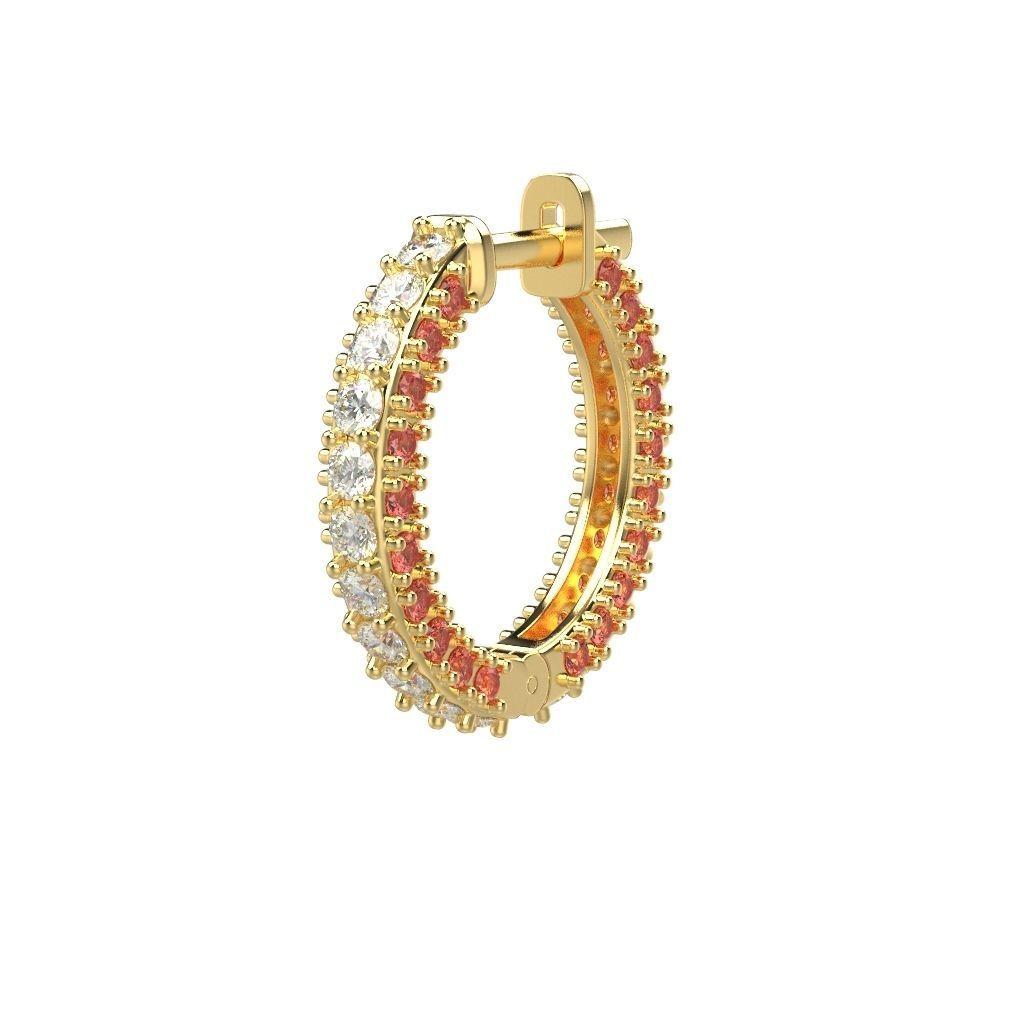 Women earrings with gems CAD 3dm stl