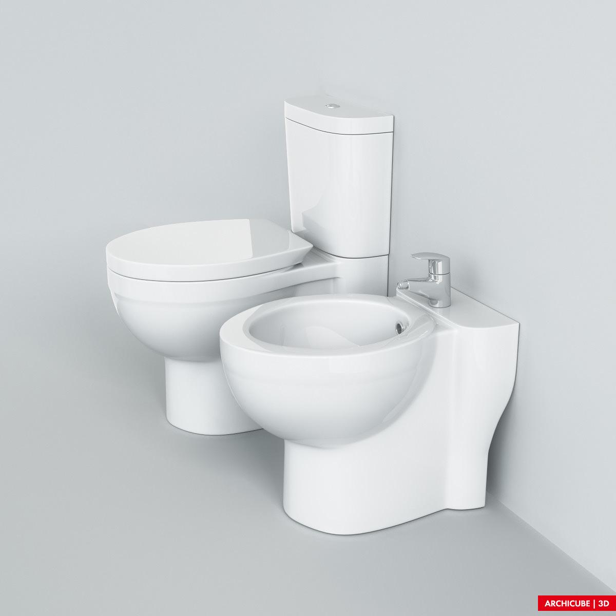 Toilet Bidet 3d Model Max Obj Fbx