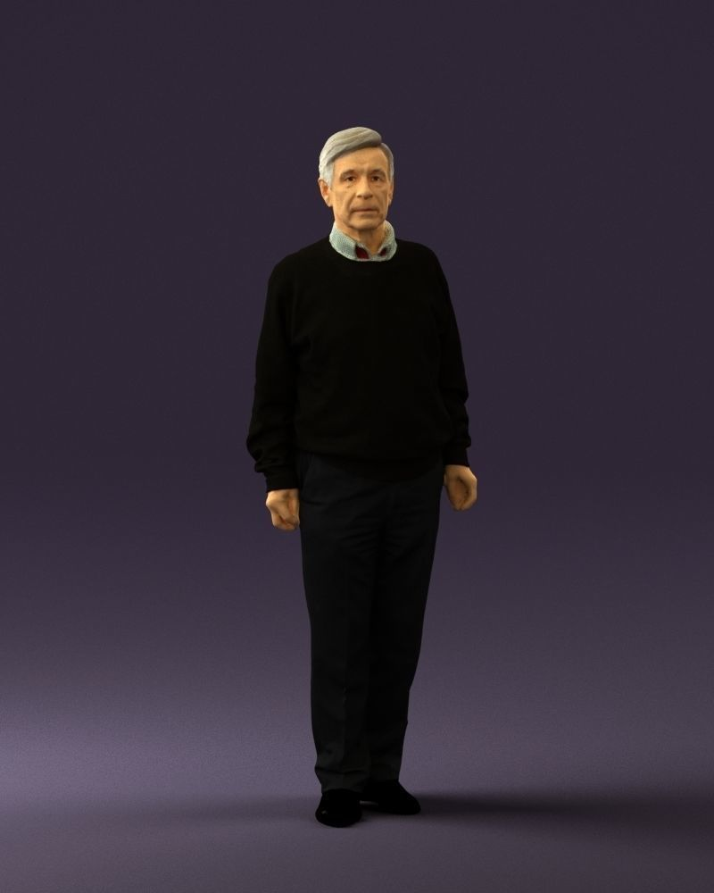 Old man in black sweater 0563  3D Print Ready