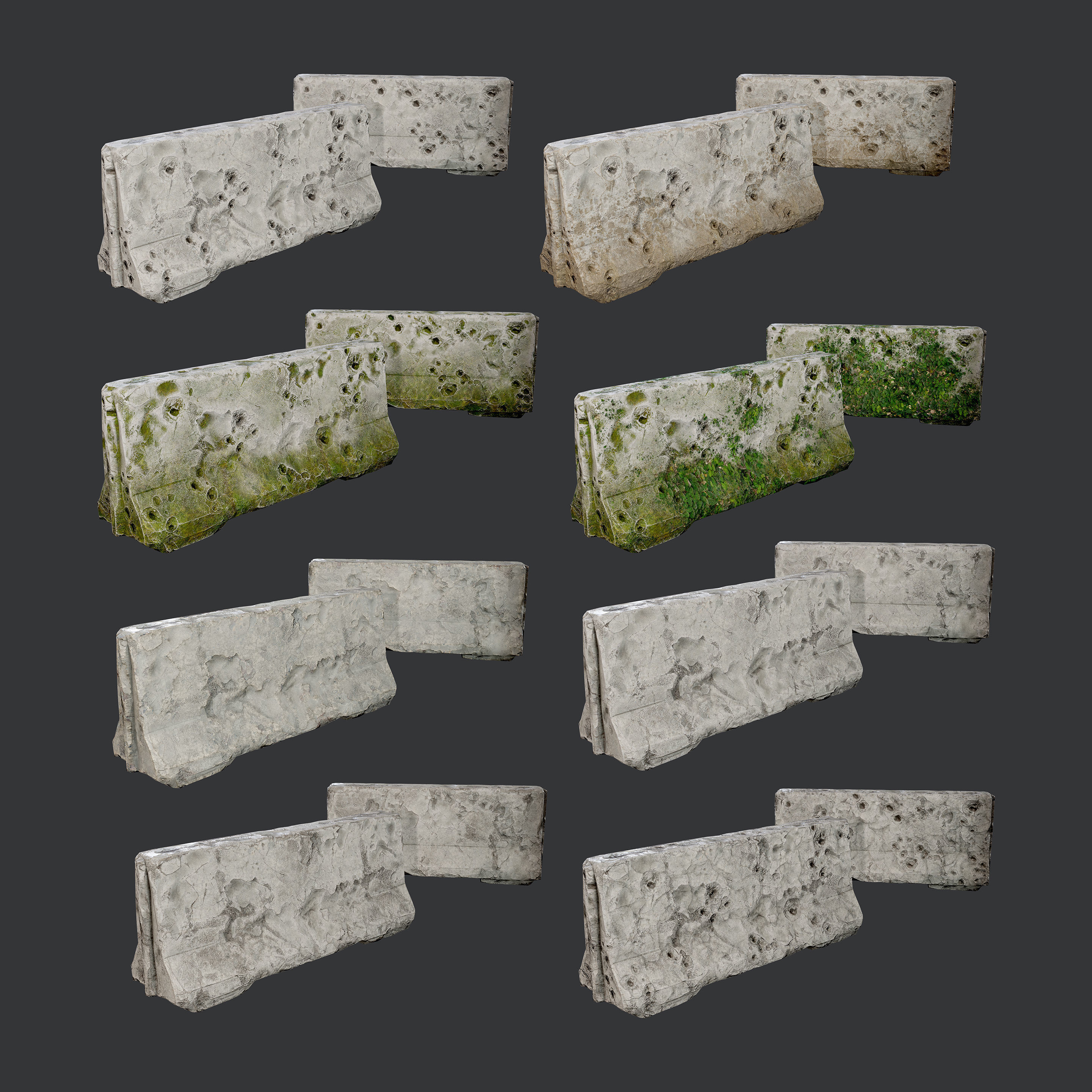 8 Destroyed Concrete Divider Pack Game Ready