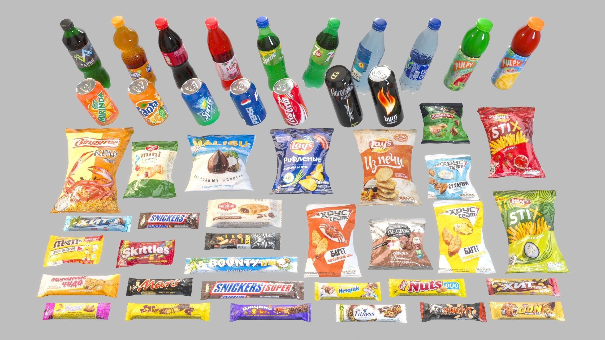 Set of drinks and snacks and chocolate bars