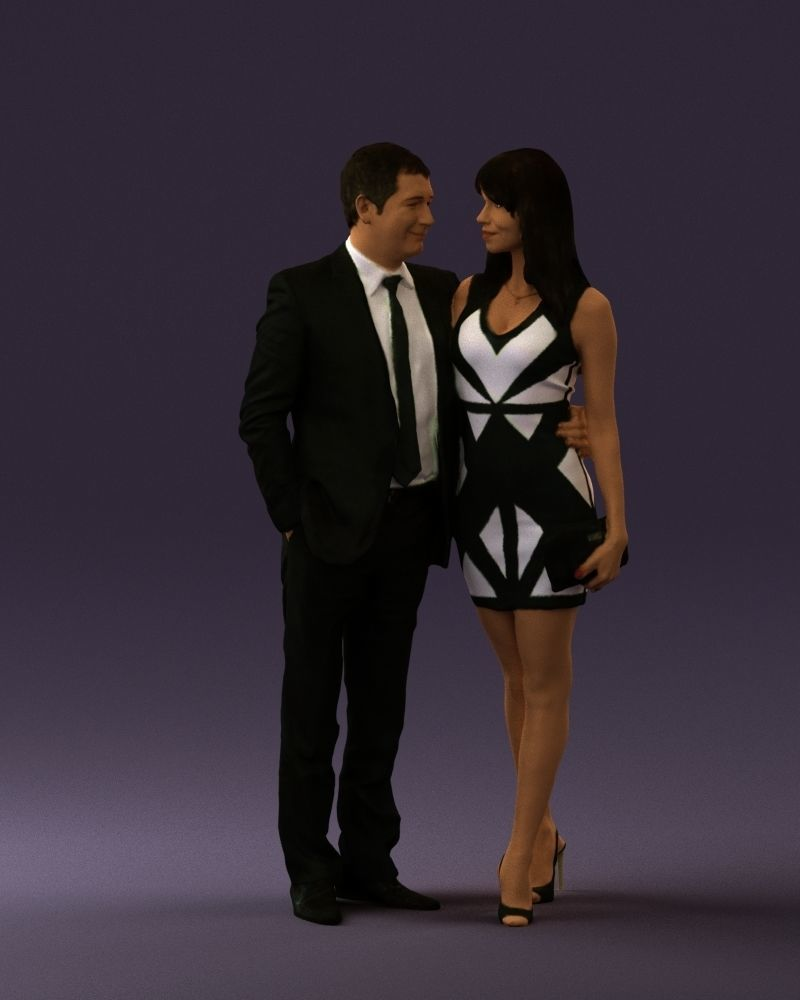 Man and woman in evening dresses 0591 3D Print Ready