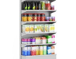 Market Shelf Milk and Juices 3D model