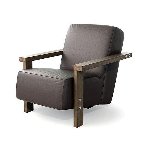 brown leather armchair 27 am121 3d model obj 1