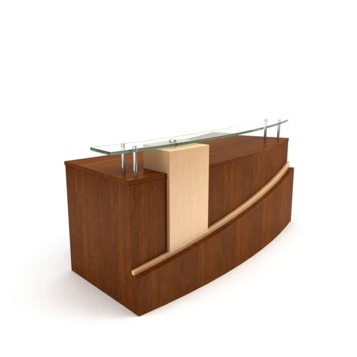 Brown wooden table reception desk 01 am89 3d model for Table design 3d model