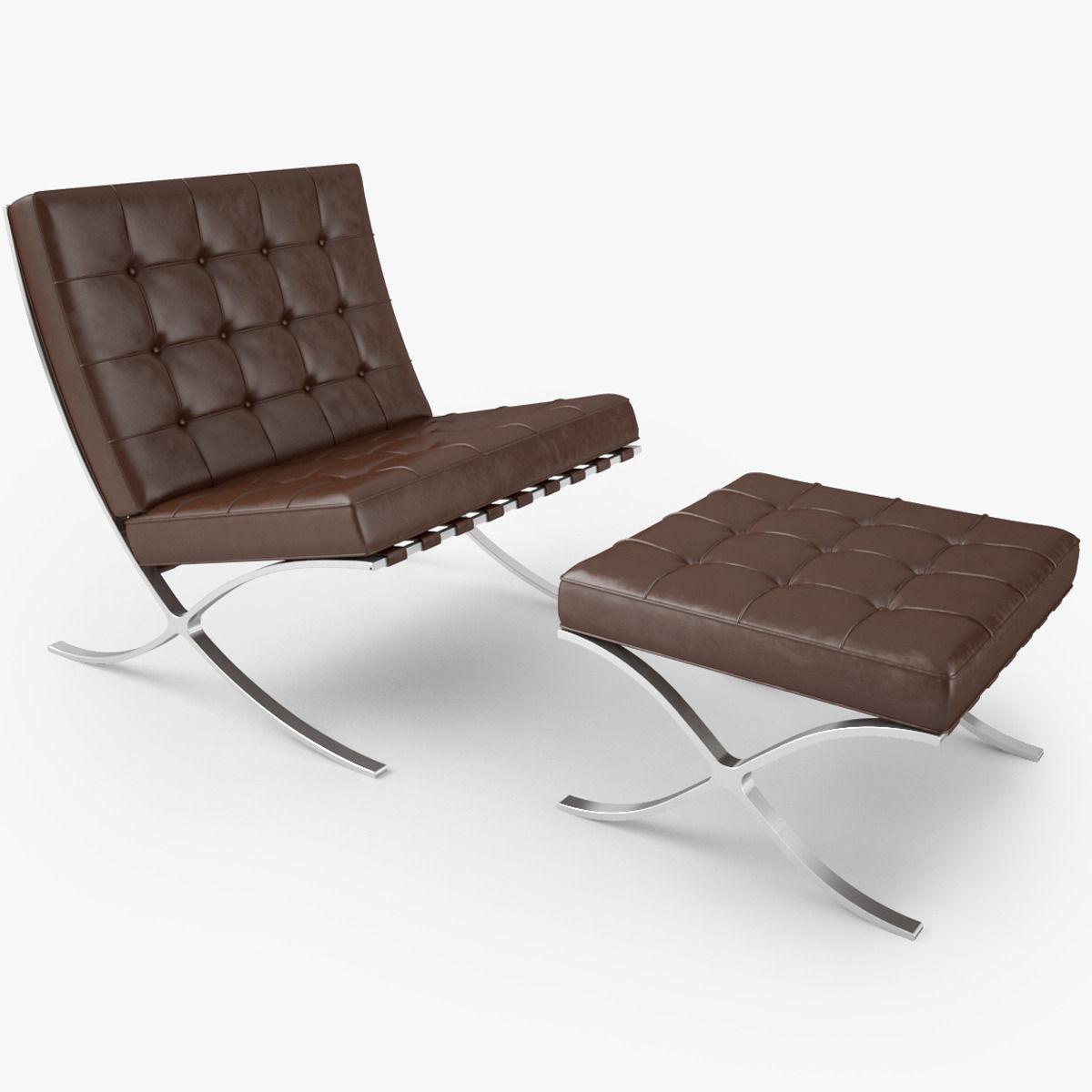 Barcelona chair brown -  Knoll Barcelona Chair 3d Model Max Obj Fbx Mtl 2