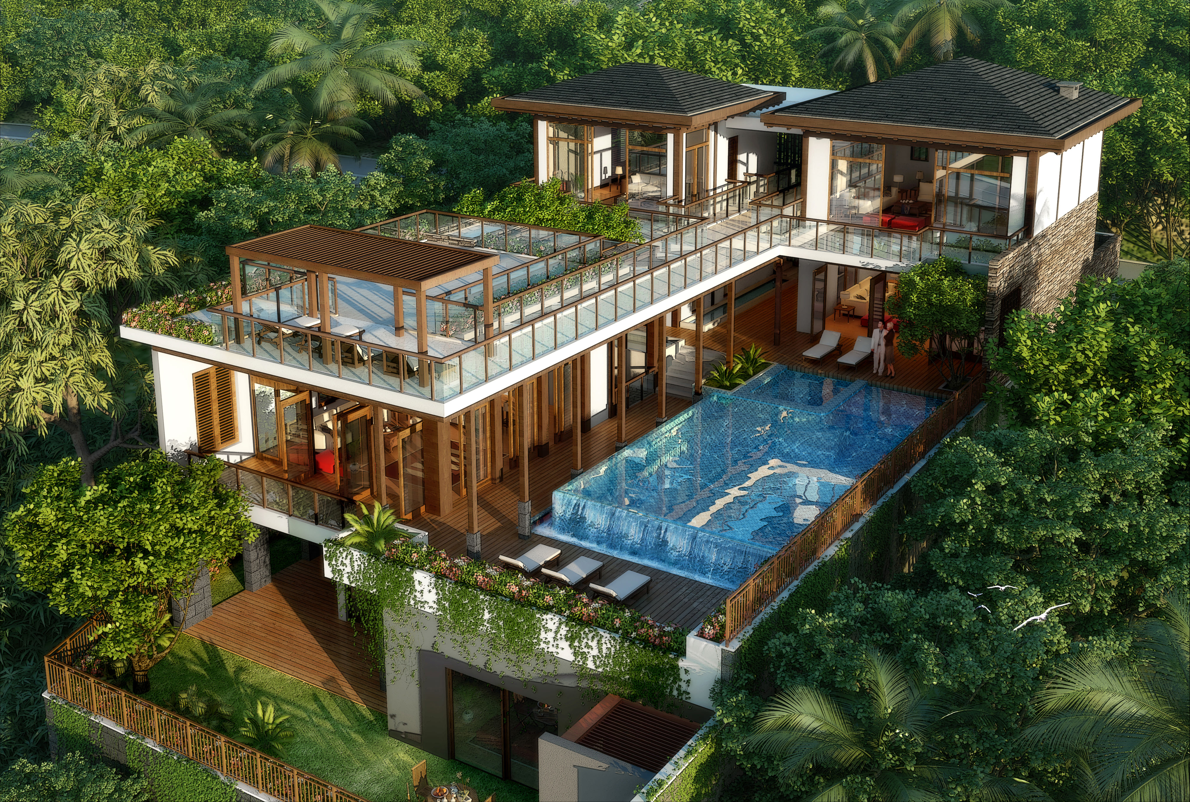 Luxurious Tropical House With A Pool In Na... 3D Model ...