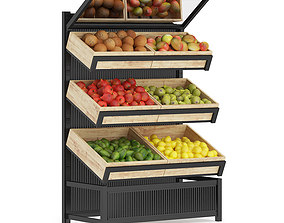 3D model Market Shelf Fruits