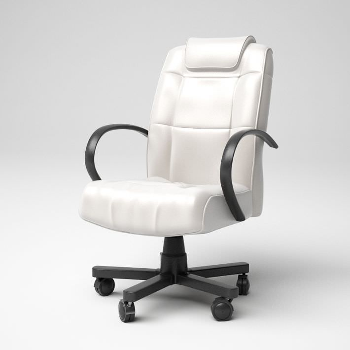 white leather office chair 37 am5 3d model obj 1 - White Armless Office Chair