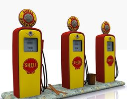 gas pump shell low-poly 3d asset
