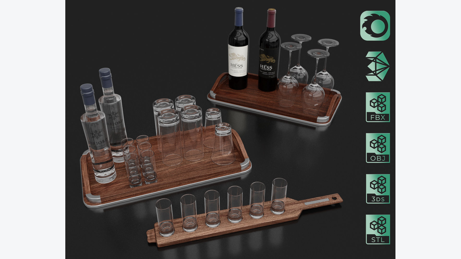 Vodka and Wine bottles with glass on board set